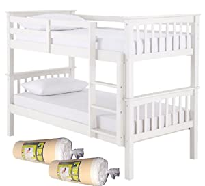 Novara Wooden White 3ft Single Bunk Bed + 2x Luxury Memory Foam Mattress Package