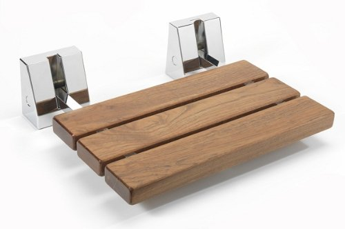 Wooden Folding Shower Seat With Chrome Hinges