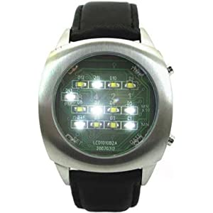 White Binary LED Watch Digital Display With Leather Strap - Limited Edition - Collectors Classic Model