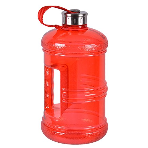 2.3 Liter BPA Free Reusable Plastic Drinking Water Bottle Jug Container w/ Hand Holder Canteen and with Stainless Steel Cap - Red (Red Solo Pitcher compare prices)
