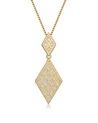 Rachel Glauber Vermeil CZ Diamond-Shaped Drop Pendant Necklace