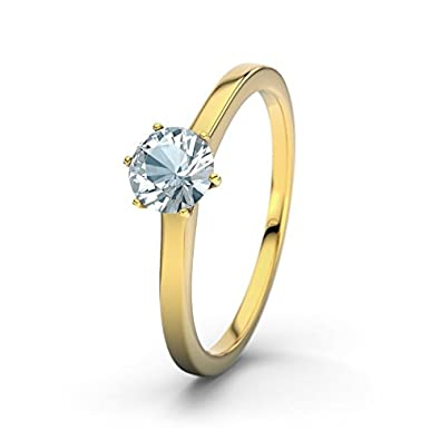 21DIAMONDS Azores Aquamarine Brilliant Cut Women's Ring 14 Carat (585) Yellow Gold Engagement Ring