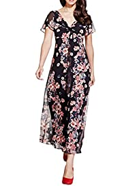 Per Una Floral Striped Maxi Dress [T62-6660J-S]
