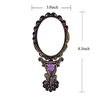 MOIOM Vintage Style Metal Foldable Oval Peacock Flower Pattern Makeup Hand/Table Mirror (Bronze)