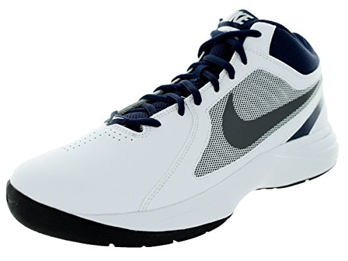 Nike Men's The Overplay VIII White/Mtlc Dark Grey/Mid Navy Basketball Shoe 9 Men US