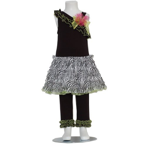 Bonnie Jean Black Green Zebra Print Tiered Spring Girl Outfit 12M-4T