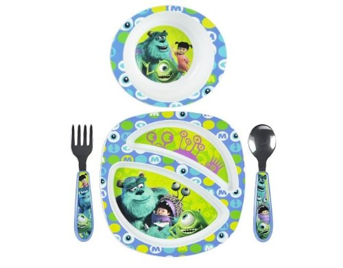 The First Years 4 Piece Disney Monsters Inc. Break Resistant Feeding Set back-1022011