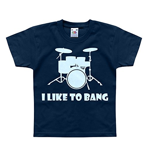 Nutees I Like To Bang Drummer'S Drum Set Music Band Unisex Kids T Shirts - Navy 3/4 Years
