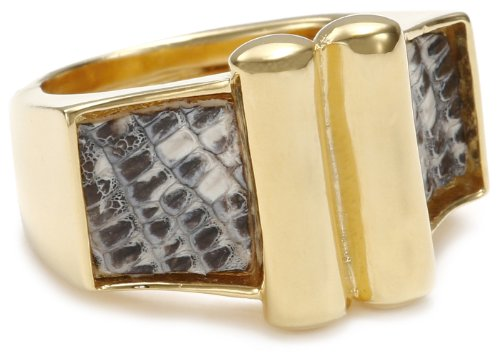 KARA by Kara Ross Deco Skin Inlay Gold with Lizard Ring, Size 7