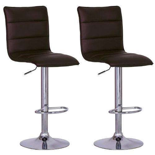 WOLTU-BH15br-2-Design-Hocker-mit-Griff-2er-Set-stufenlose-Hhenverstellung-verchromter-Stahl-Antirutschgummi-pflegeleichter-Kunstleder-gut-gepolsterte-Sitzflche-braun