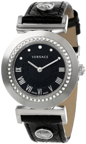 Versace Women's P5Q99D009 S009 Vanity Round Stainless Steel Black Leather Band Watch