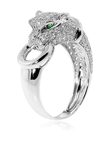 Diamonere Sterling Silver Pavé Panther Door Knocker Ring with Emerald-Colored Eyes