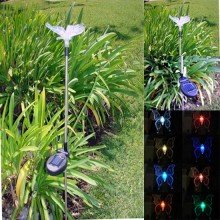 2 Pack Stainless Steel Butterfly Color Changing Solar Light - 1