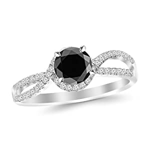 2.2 Carat Twisting Curving Halo Style Split Shank Diamond Engagement Ring 14K White Gold with a 2 Carat Round Cut AAA Quality Black Diamond (Heirloom Quality)