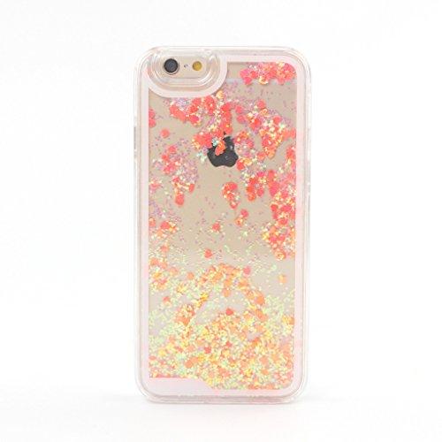 Ligangam【全8色】iPhone6/6s 4.7インチ用 多彩な流砂カバー ブリング フロー砂 ティング グリッター キラキラスター ハードケース ハート柄 心柄(バラ色)