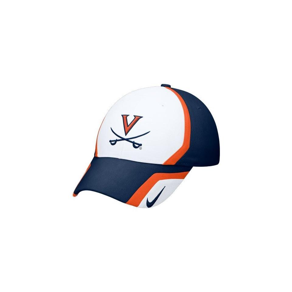 timeless design 87c69 72554 Nike Virginia Cavaliers White Navy Blue Sideline Swoosh Flex Fit Hat