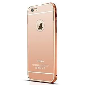 Apple iPhone 6 Plus Luxury Aluminium Bumper With Mirror Acrylic Back Cover - Rose Gold