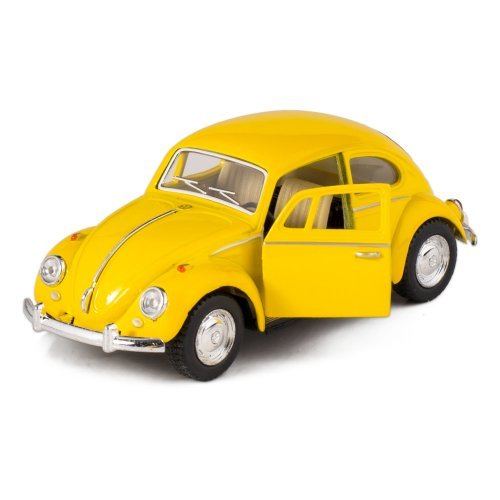Yellow 1967 Classic Die Cast Volkwagen Beetle Toy with Pull Back Action - 1