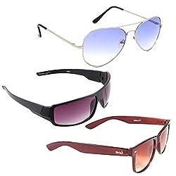Elligator Stylish Aviator Silver Blue And Purple Nightvision With Brown Wayfarer Sunglasses Combo ( Set of 3 )