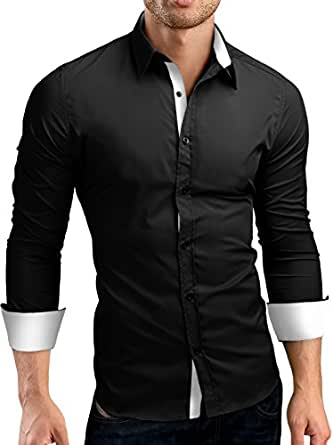 Grin bear slim fit men 39 s wrinkle free contrast shirt dress for Wrinkle free dress shirts amazon