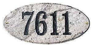 Qualarc, Inc. Solid Granite Address Plaque, Rockport Oval, Slate ROC-4701-SL
