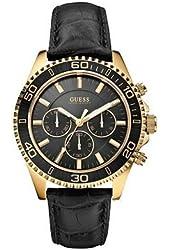 GUESS U0171G3 Mens Black Embossed Leather Black Multufunction Watch