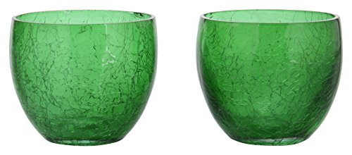 Mewar Arts Glass Tealight Candle Holder (8 Cm X 8 Cm X 6 Cm, Green, Pack Of 2)