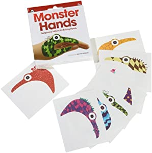 Temporary Tattoo Monster Hand Puppets 8-pack by Worldwide Co. Educational Products