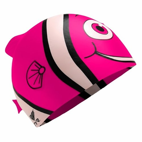 TYR SPORT INC Junior Happy Fish Silicone Swim Cap, Pink