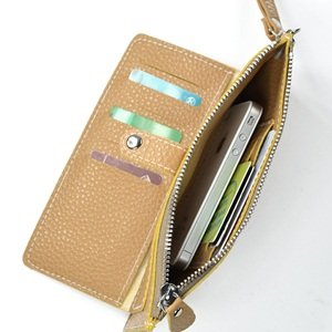 Клатч KLOUD ® Light Brown synthetic leather leechee pattern women wallet with an outer pocket