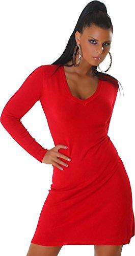 Miss Sara Damen Strickkleid Kleid Feinstrick V-Auschnitt Einheitsgröße