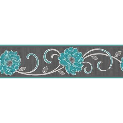 Fine Decor Florentina Wallpaper Border Charcoal Blue by Fine Decor