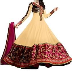 Khazanakart Designer cream georgette dress materials For Womens