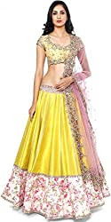 Z Fashion Fogg Yellow Color Semi-Stitched Lehenga with Pink Net Dupatta & Yellow Blouse Piece