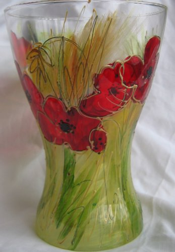 Hand painted glass vase Poppy design