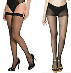 Combo Pack- Girls Black High Waist Pantyhose Wih Free Black Nylon Stockings