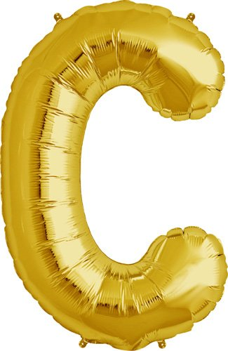 Letter C - Gold Helium Foil Balloon - 34 inch - 1