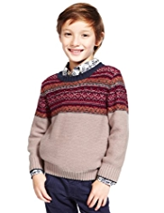 Autograph Pure Cotton Fair Isle Reverse Knit Jumper