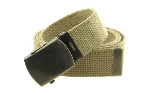 "Canvas Web Belt Military Style with Antique Brass Buckle and Tip 50"" Long (Khaki)"