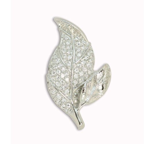 C.Z. (.925) STERLING SILVER LEAF RHODIUM PLATED PIN (Nice Holiday Gift, Special Black Firday Sale)