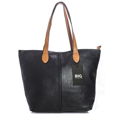 Big Handbag Shop Womans Designer Plain Soft Tote Shoulder Bag