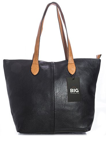 Big Handbag Shop Womans Designer Plain Soft Tote