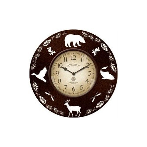 Decorative Rustic Wall Clock with Wildlife Cut Out Silhouettes 13