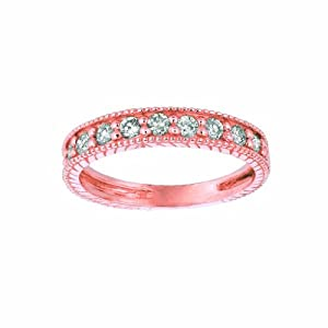 14 Karat Pink Gold stack Motif Ring Enhanced With Briliant Near Colorless Diamonds. (GH-Color SI2-Clarity 0.66-Carat)