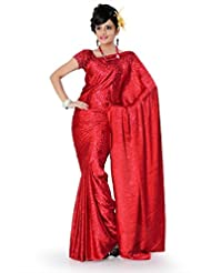 Designersareez Women Crepe Jacquard Printed Red Saree With Unstitched Blouse(784)