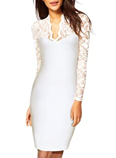 Miusol Women's Sexy Lace Dress V Neck Slim Cocktail Party Dresses,Ship From USA (Miusol Small/US Size 4, Long sleeve white)