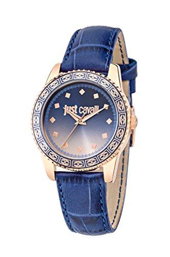 Roberto Cavalli Just Sunset-Orologio da donna al quarzo con Display analogico e cinturino in pelle, colore: blu R7251202505