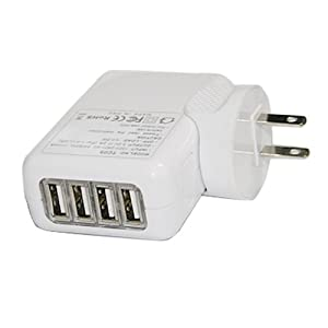 HDE White 4-Port Wall to USB Travel A/C Power Adapter Charger for iPhone/iPad/iPod/iTouch