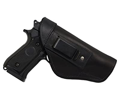 New Barsony Black Leather Gun IWB Holster + Magazine Pouch for Full Size 9mm 40 45
