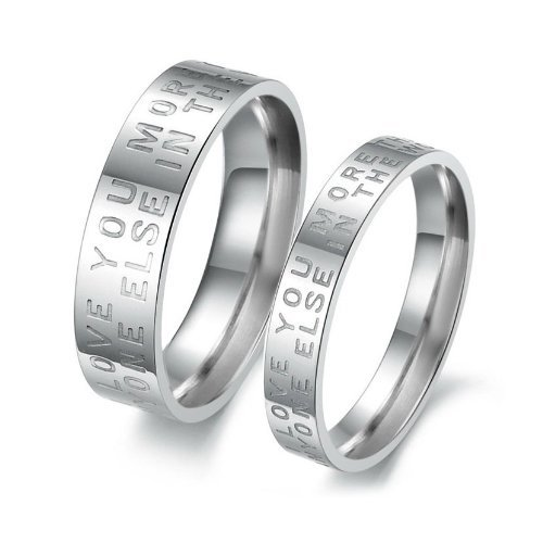 JewelryWe Stainless Steel Couple Jewellery Finger Ring Love Letter Engraved Mens Birthday/Anniversary/Engagement/Wedding Bands